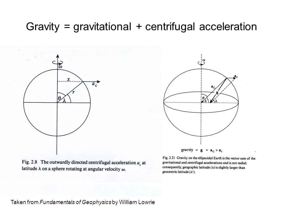 Gravity = gravitational + centrifugal acceleration Taken from Fundamentals of Geophysics by William Lowrie