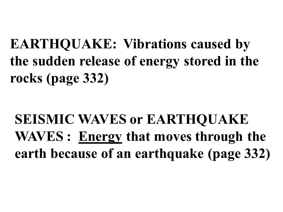 Earthquakes and earthquake (or seismic) waves Pages , ,