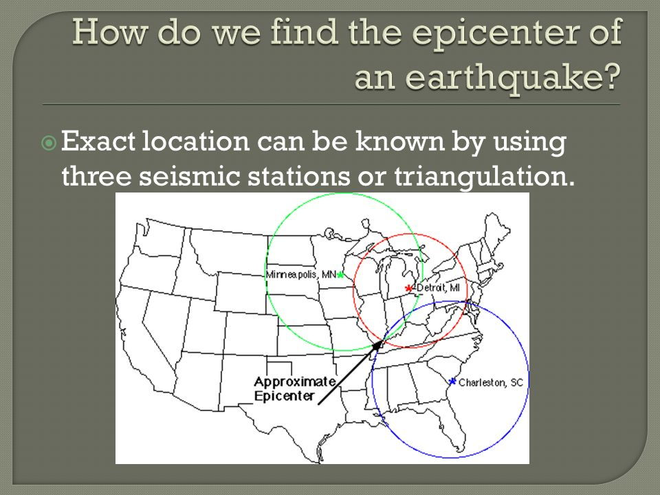  Exact location can be known by using three seismic stations or triangulation.