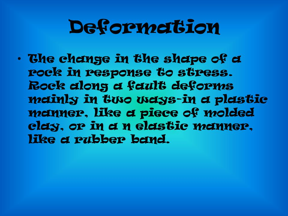 Deformation The change in the shape of a rock in response to stress.