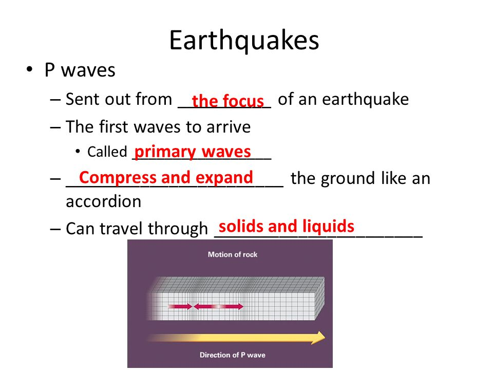 Earthquakes P waves – Sent out from __________ of an earthquake – The first waves to arrive Called _________________ – _______________________ the ground like an accordion – Can travel through ______________________ the focus primary waves Compress and expand solids and liquids