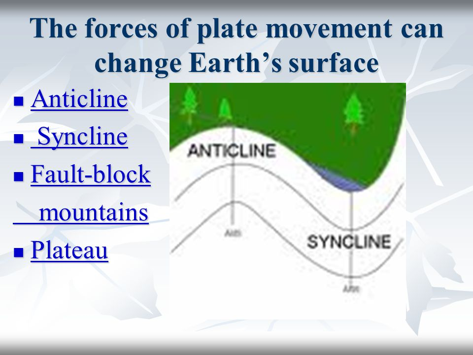 The forces of plate movement can change Earth's surface Anticline Anticline Anticline Syncline Syncline Syncline Syncline Fault-block Fault-block Fault-block mountains mountains Plateau Plateau Plateau