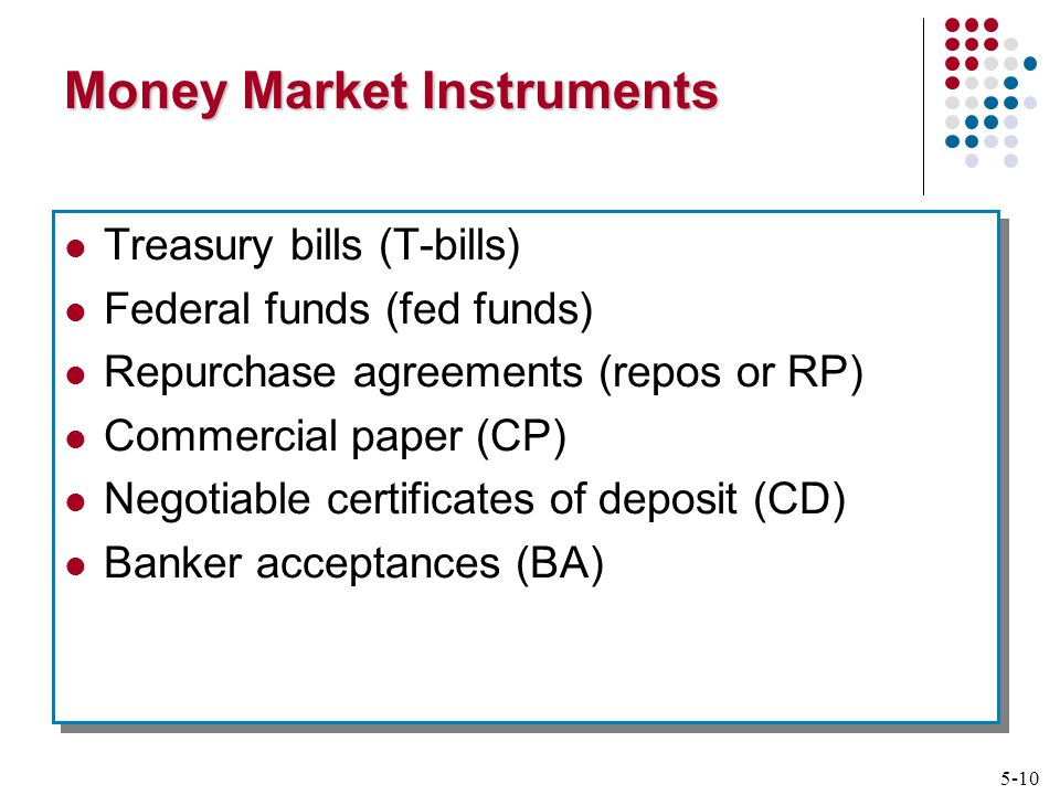 5-10 Money Market Instruments Treasury bills (T-bills) Federal funds (fed funds) Repurchase agreements (repos or RP) Commercial paper (CP) Negotiable certificates of deposit (CD) Banker acceptances (BA) Treasury bills (T-bills) Federal funds (fed funds) Repurchase agreements (repos or RP) Commercial paper (CP) Negotiable certificates of deposit (CD) Banker acceptances (BA)