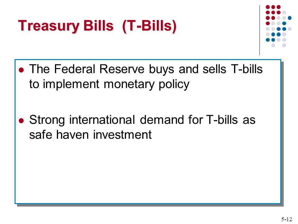 5-12 Treasury Bills (T-Bills) The Federal Reserve buys and sells T-bills to implement monetary policy Strong international demand for T-bills as safe haven investment The Federal Reserve buys and sells T-bills to implement monetary policy Strong international demand for T-bills as safe haven investment