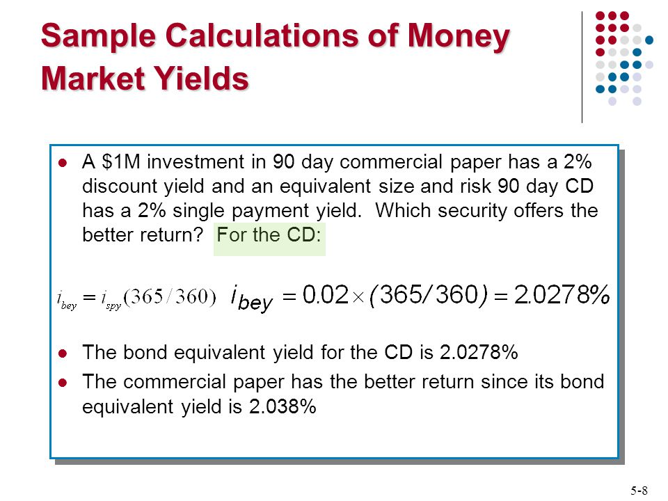 5-8 Sample Calculations of Money Market Yields A $1M investment in 90 day commercial paper has a 2% discount yield and an equivalent size and risk 90 day CD has a 2% single payment yield.