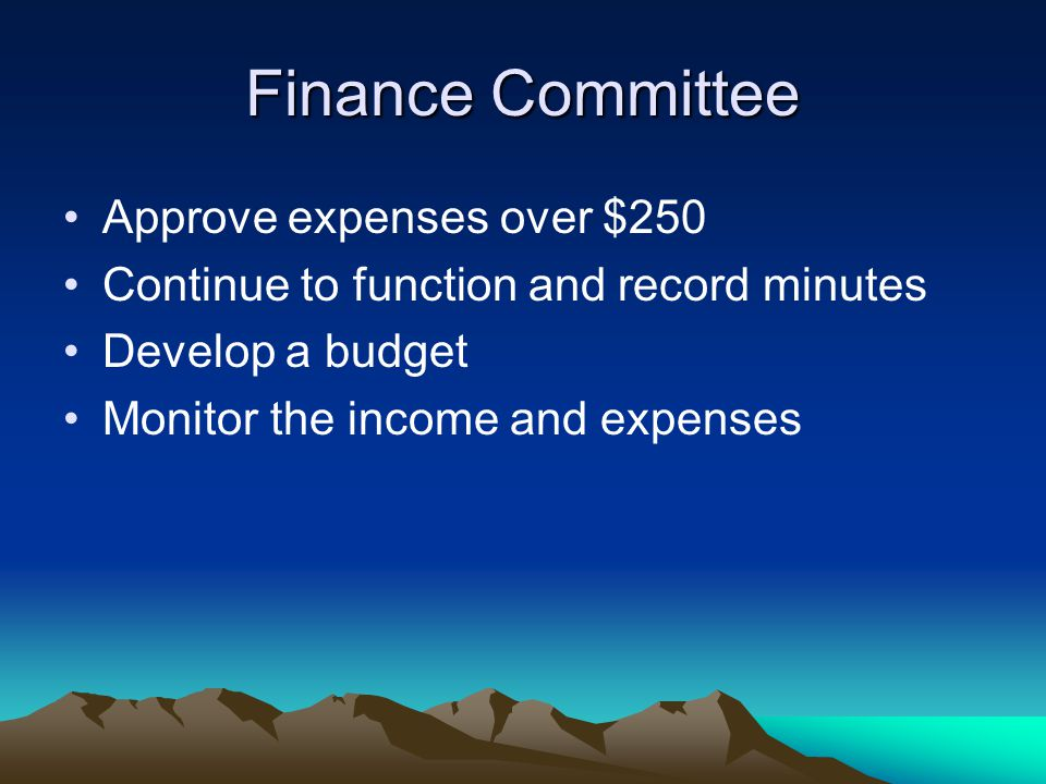 Finance Committee Approve expenses over $250 Continue to function and record minutes Develop a budget Monitor the income and expenses
