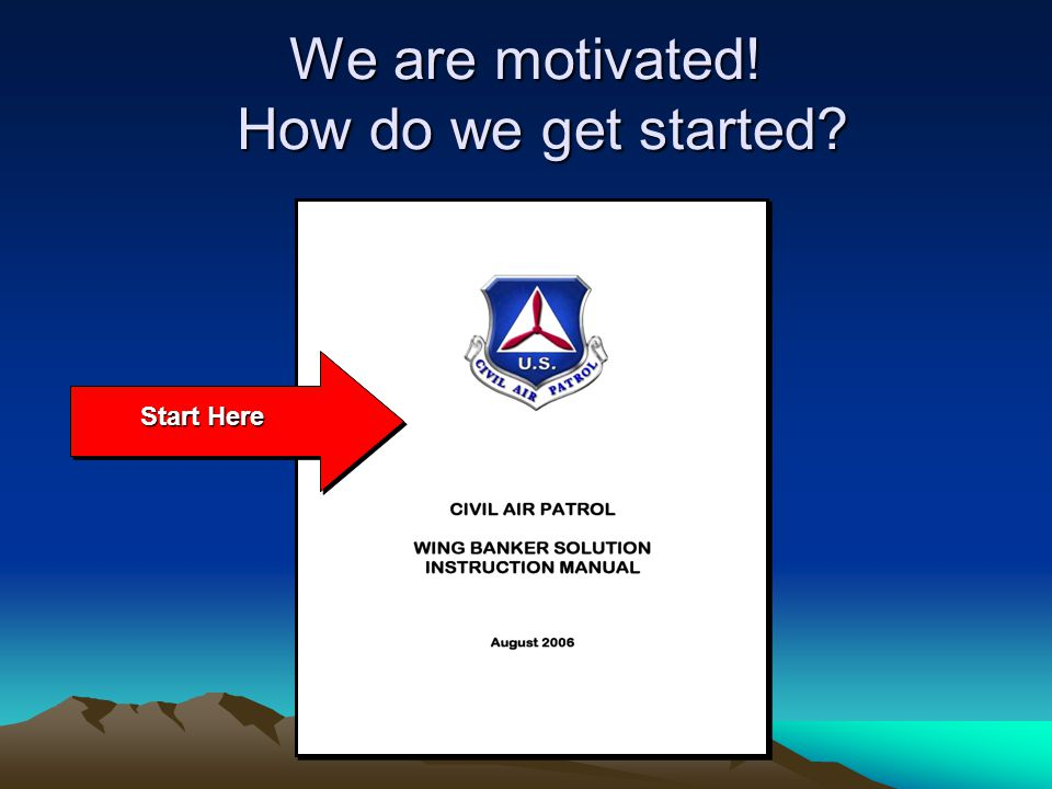 We are motivated! How do we get started Start Here