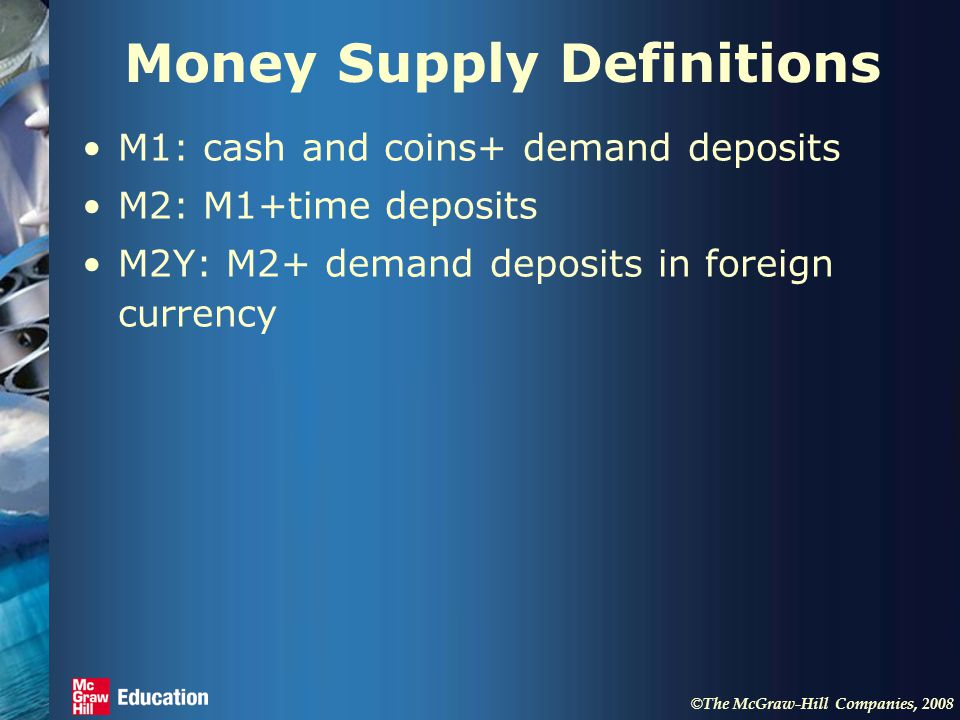 © The McGraw-Hill Companies, 2008 Money Supply Definitions M1: cash and coins+ demand deposits M2: M1+time deposits M2Y: M2+ demand deposits in foreign currency