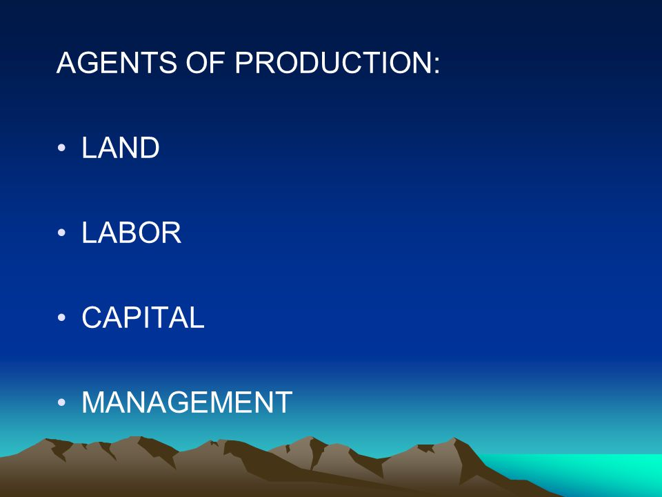 AGENTS OF PRODUCTION: LAND LABOR CAPITAL MANAGEMENT