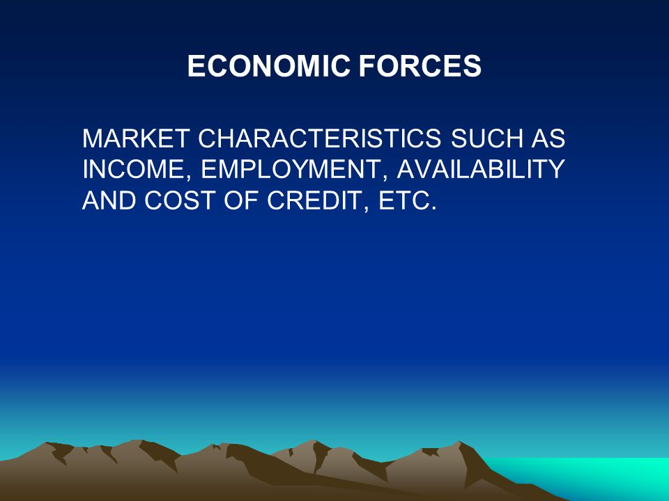 ECONOMIC FORCES MARKET CHARACTERISTICS SUCH AS INCOME, EMPLOYMENT, AVAILABILITY AND COST OF CREDIT, ETC.