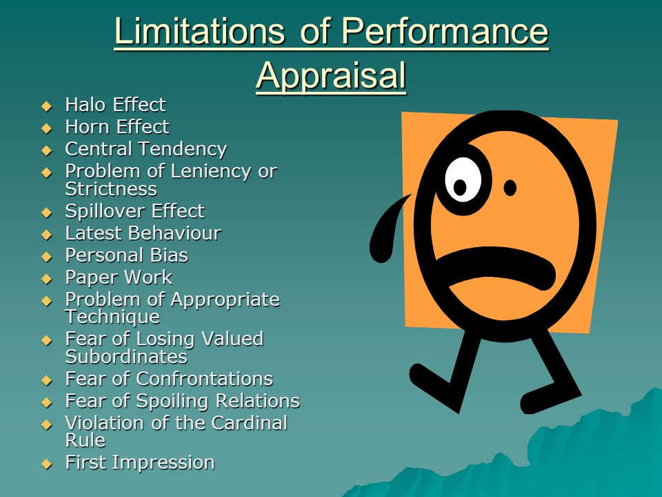 Limitations of Performance Appraisal  Halo Effect  Horn Effect  Central Tendency  Problem of Leniency or Strictness  Spillover Effect  Latest Behaviour  Personal Bias  Paper Work  Problem of Appropriate Technique  Fear of Losing Valued Subordinates  Fear of Confrontations  Fear of Spoiling Relations  Violation of the Cardinal Rule  First Impression