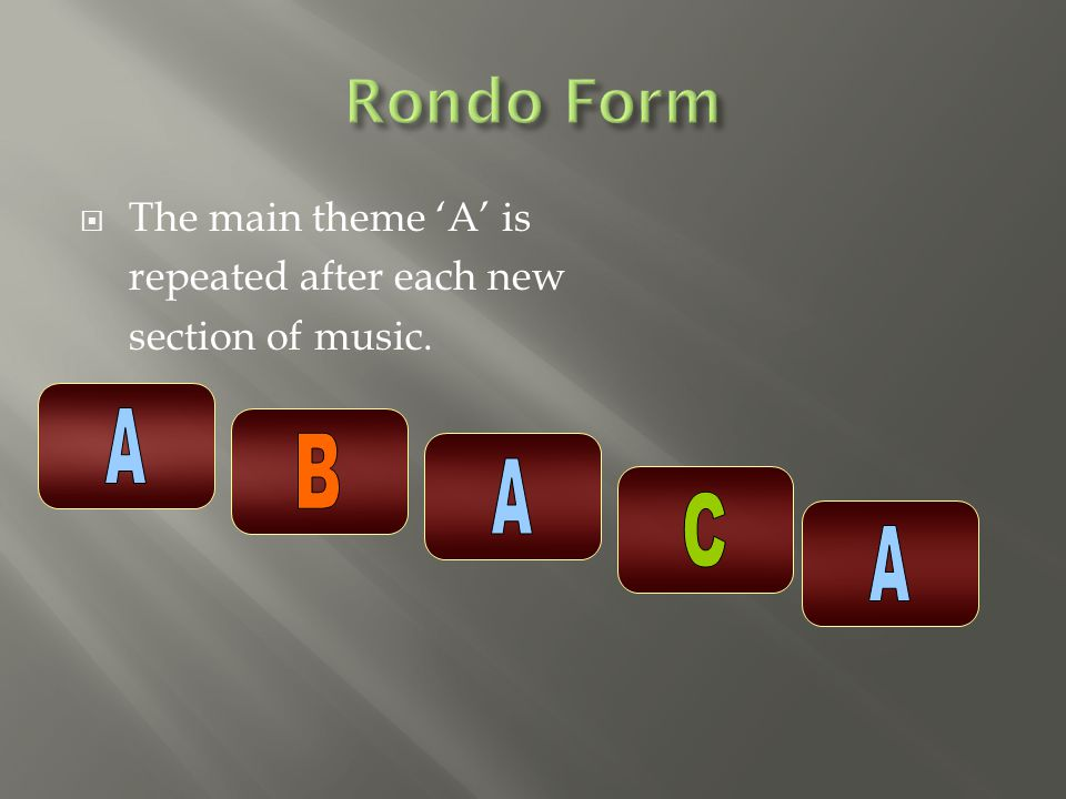  The main theme 'A' is repeated after each new section of music.