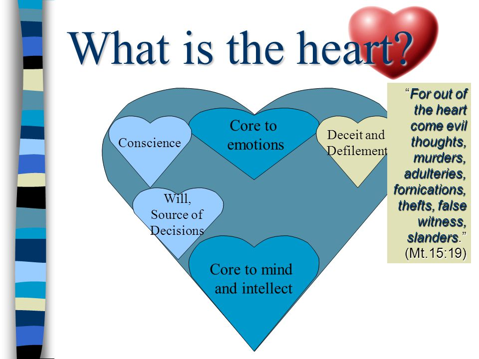 Core to mind and intellect Will, Source of Decisions Core to emotions Deceit and Defilement Conscience For out of the heart come evil thoughts, murders, adulteries, fornications, thefts, false witness, slanders. (Mt.15:19) What is the heart