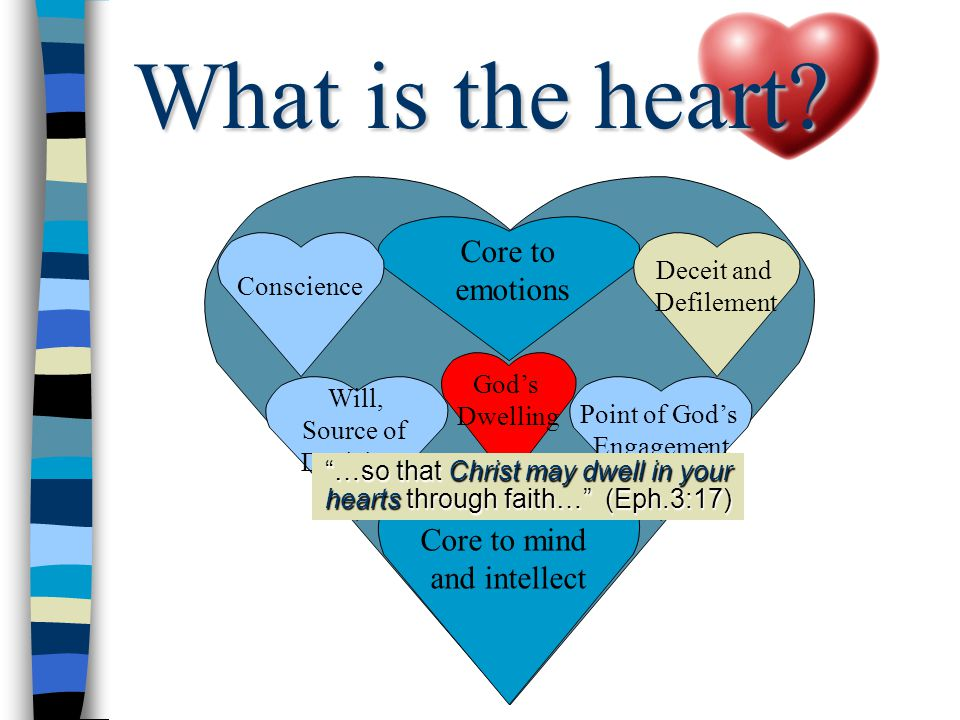Core to mind and intellect Will, Source of Decisions Point of God's Engagement Core to emotions Deceit and Defilement Conscience God's Dwelling …so that Christ may dwell in your hearts through faith… (Eph.3:17) What is the heart