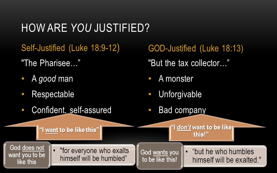 But the tax collector… A monster Unforgivable Bad company The Pharisee… A good man Respectable Confident, self-assured HOW ARE YOU JUSTIFIED.