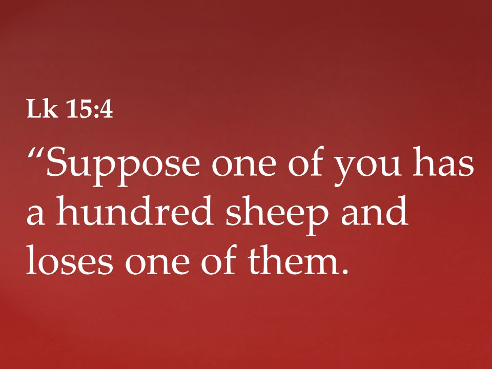 Lk 15:4 Suppose one of you has a hundred sheep and loses one of them.