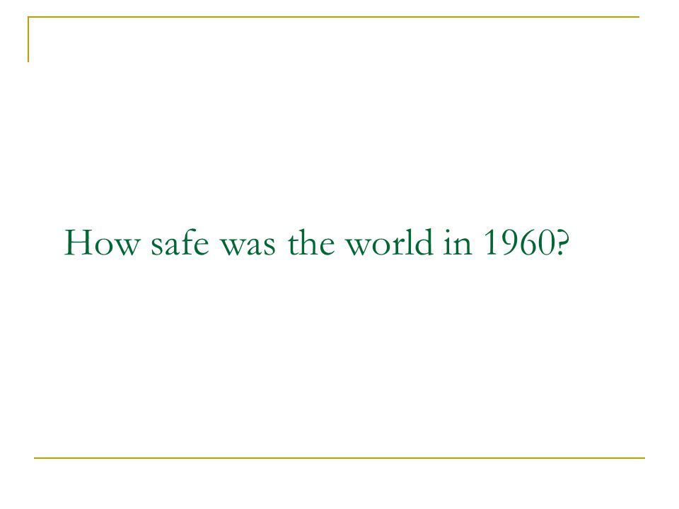 How safe was the world in 1960
