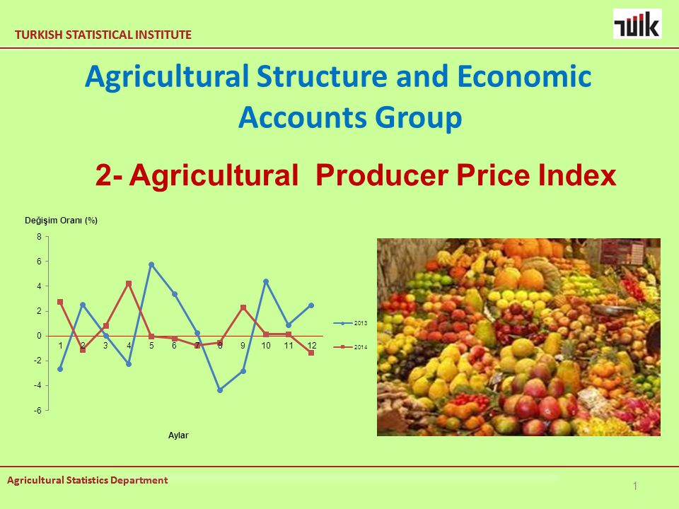 TURKISH STATISTICAL INSTITUTE Agricultural Statistics Department TURKISH STATISTICAL INSTITUTE Agricultural Statistics Department Agricultural Structure and Economic Accounts Group 1 2- Agricultural Producer Price Index