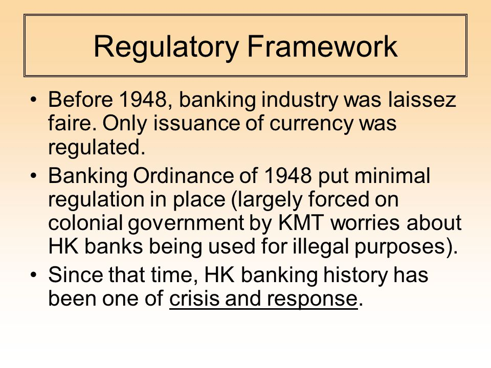 Regulatory Framework Before 1948, banking industry was laissez faire.