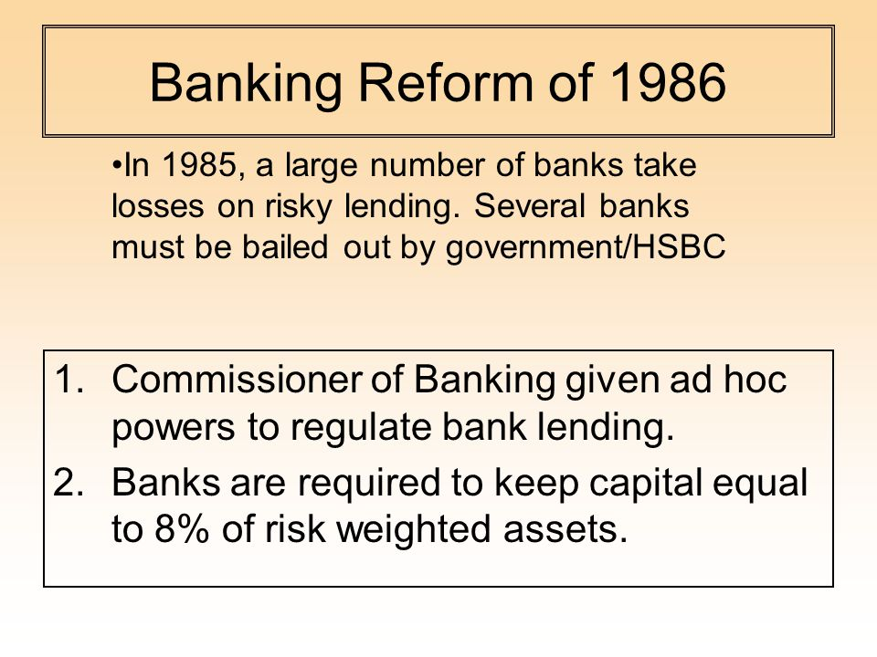 Banking Reform of Commissioner of Banking given ad hoc powers to regulate bank lending.