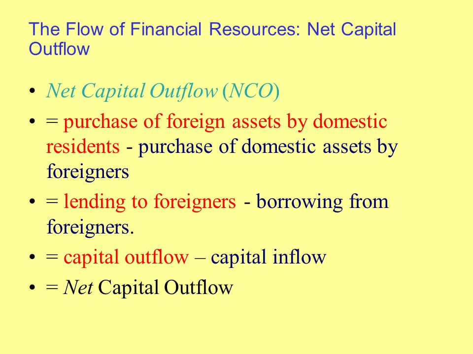 The Flow of Financial Resources: Net Capital Outflow Net Capital Outflow (NCO) = purchase of foreign assets by domestic residents - purchase of domestic assets by foreigners = lending to foreigners - borrowing from foreigners.