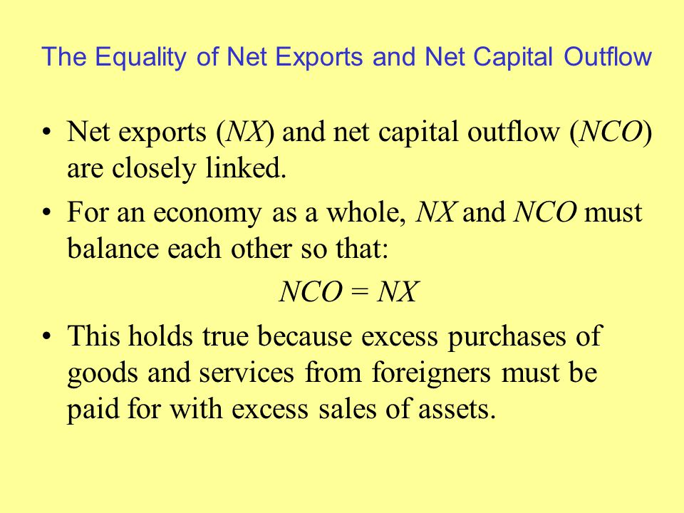 The Equality of Net Exports and Net Capital Outflow Net exports (NX) and net capital outflow (NCO) are closely linked.