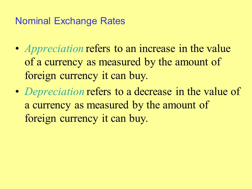 Nominal Exchange Rates Appreciation refers to an increase in the value of a currency as measured by the amount of foreign currency it can buy.