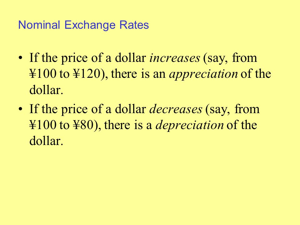 Nominal Exchange Rates If the price of a dollar increases (say, from ¥100 to ¥120), there is an appreciation of the dollar.