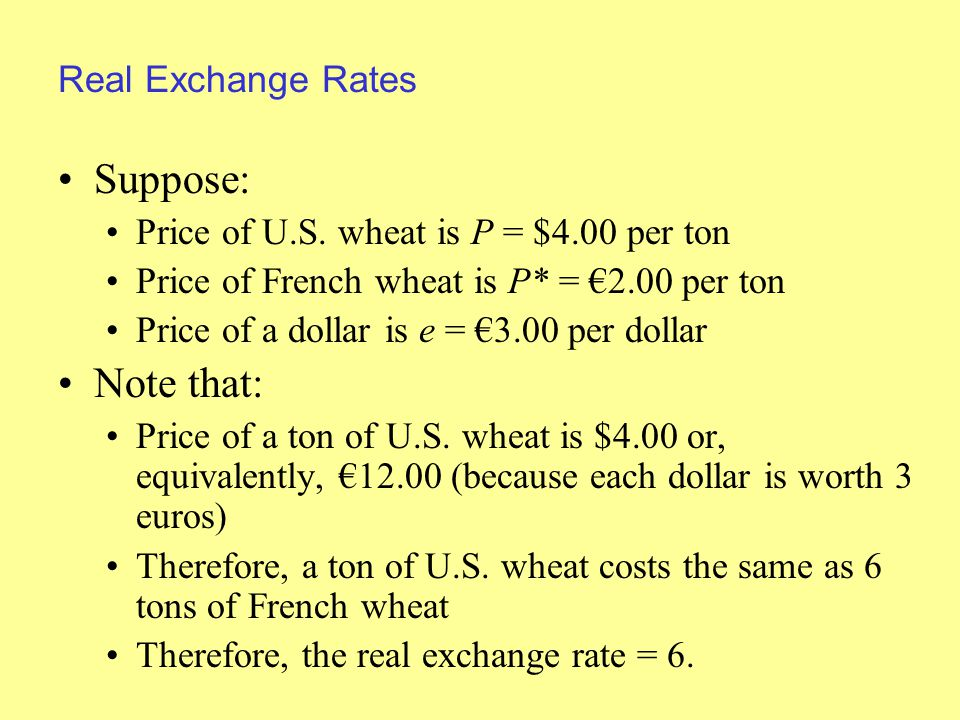 Real Exchange Rates Suppose: Price of U.S.