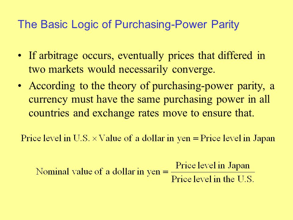 The Basic Logic of Purchasing-Power Parity If arbitrage occurs, eventually prices that differed in two markets would necessarily converge.