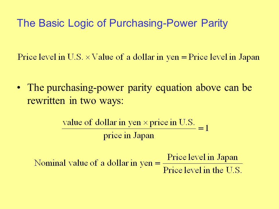 The Basic Logic of Purchasing-Power Parity The purchasing-power parity equation above can be rewritten in two ways: