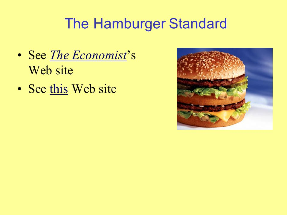 The Hamburger Standard See The Economist's Web siteThe Economist See this Web sitethis