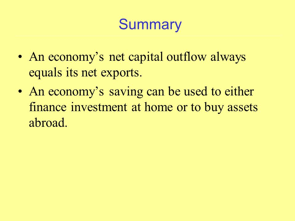 Summary An economy's net capital outflow always equals its net exports.