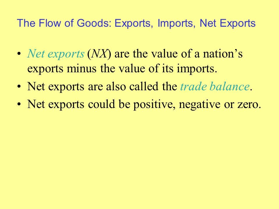 The Flow of Goods: Exports, Imports, Net Exports Net exports (NX) are the value of a nation's exports minus the value of its imports.