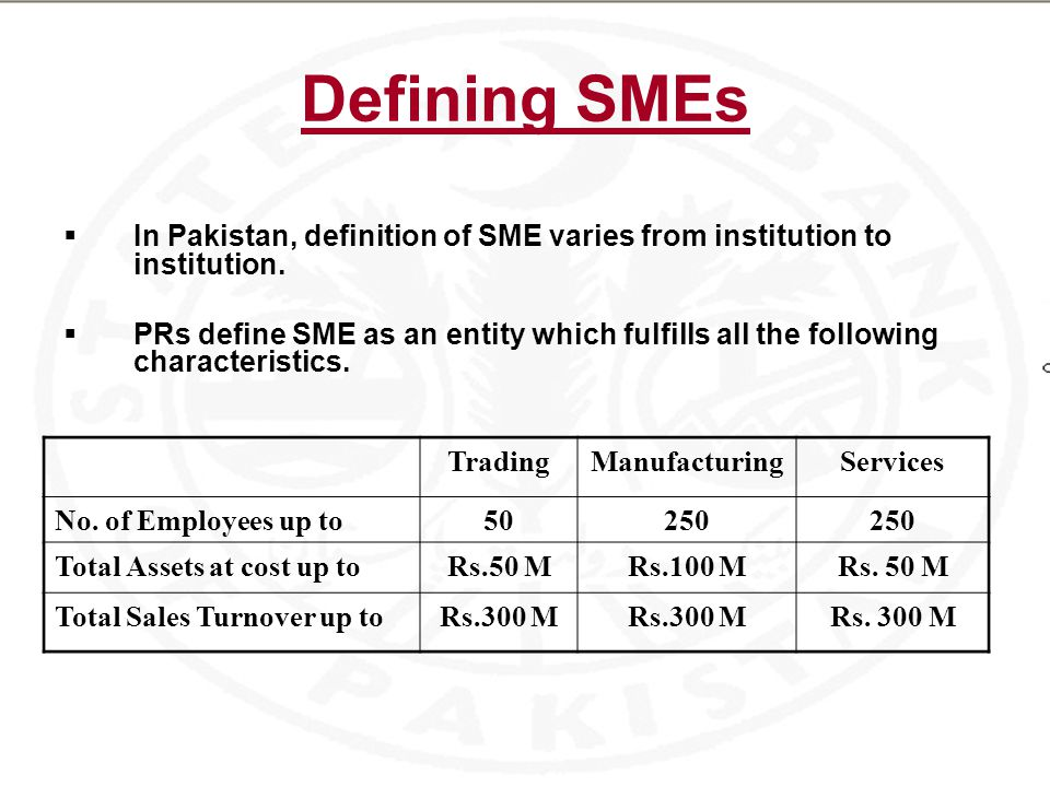 Defining SMEs  In Pakistan, definition of SME varies from institution to institution.