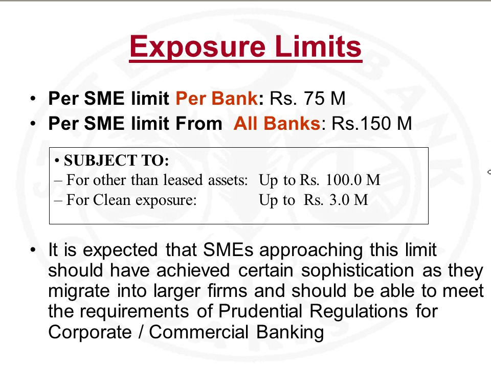 Exposure Limits Per SME limit Per Bank: Rs.
