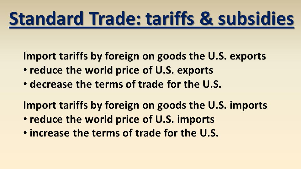 Import tariffs by foreign on goods the U.S. exports reduce the world price of U.S.