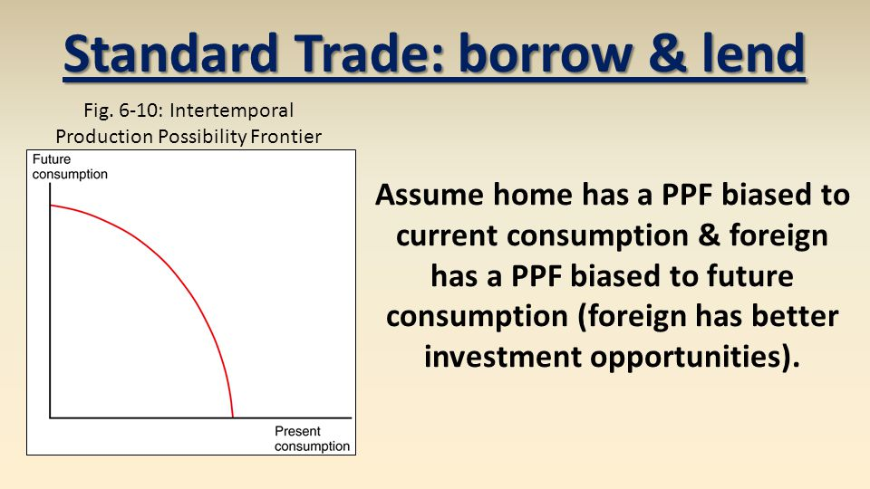 Assume home has a PPF biased to current consumption & foreign has a PPF biased to future consumption (foreign has better investment opportunities).