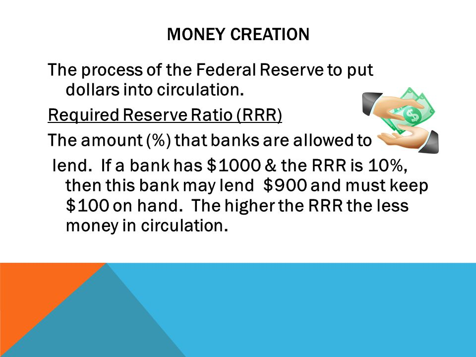 MONEY CREATION The process of the Federal Reserve to put dollars into circulation.