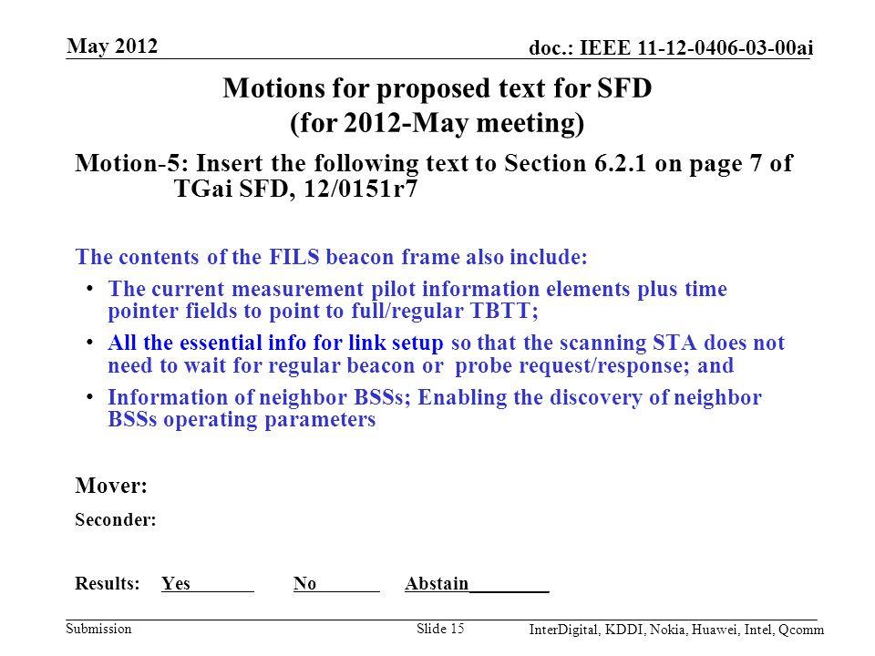 Submission doc : IEEE ai May 2012 InterDigital, KDDI, Nokia, Huawei
