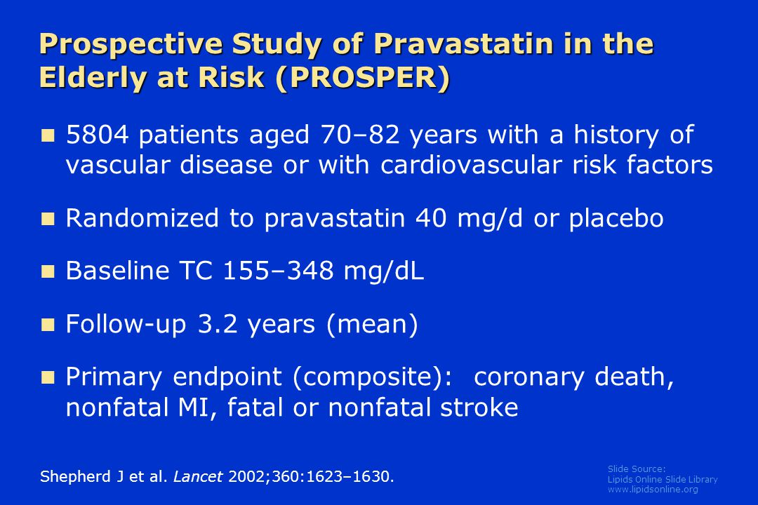 Slide Source: Lipids Online Slide Library   Prospective Study of Pravastatin in the Elderly at Risk (PROSPER) 5804 patients aged 70–82 years with a history of vascular disease or with cardiovascular risk factors Randomized to pravastatin 40 mg/d or placebo Baseline TC 155–348 mg/dL Follow-up 3.2 years (mean) Primary endpoint (composite): coronary death, nonfatal MI, fatal or nonfatal stroke Shepherd J et al.