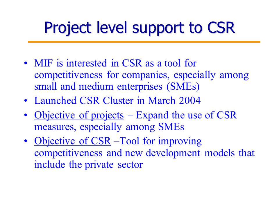 16 Project level support to CSR MIF is interested in CSR as a tool for competitiveness for companies, especially among small and medium enterprises (SMEs) Launched CSR Cluster in March 2004 Objective of projects – Expand the use of CSR measures, especially among SMEs Objective of CSR –Tool for improving competitiveness and new development models that include the private sector