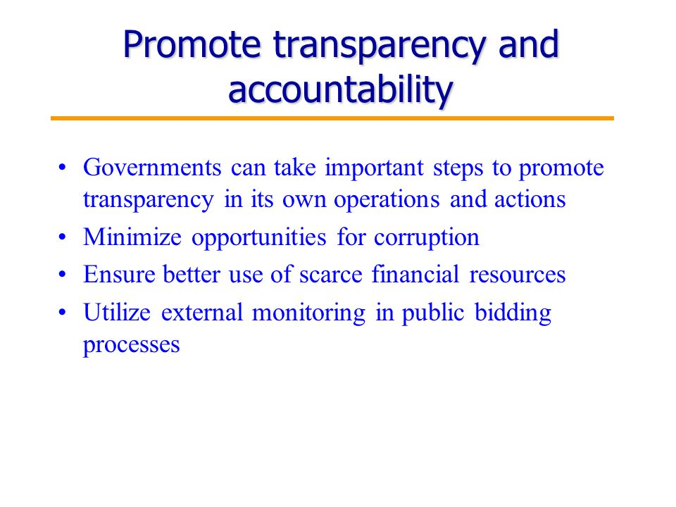 6 Promote transparency and accountability Governments can take important steps to promote transparency in its own operations and actions Minimize opportunities for corruption Ensure better use of scarce financial resources Utilize external monitoring in public bidding processes