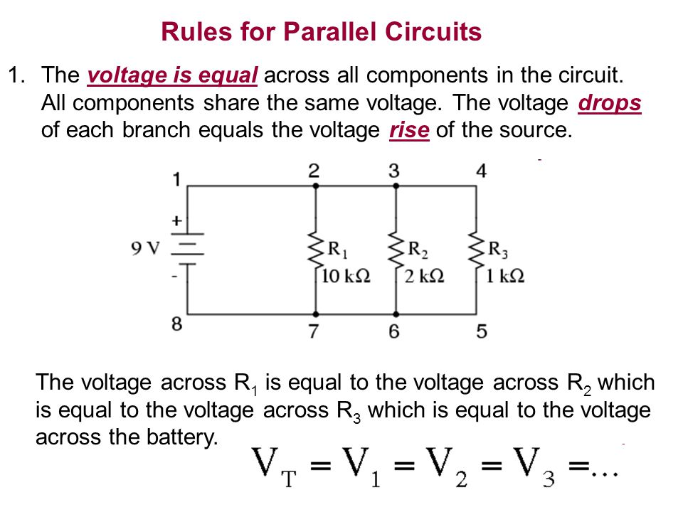 circuits 1 identify a parallel circuit 2 determine the voltage