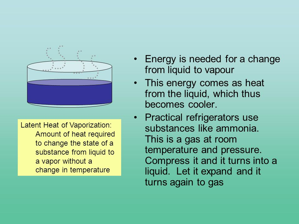 Energy is needed for a change from liquid to vapour This energy comes as heat from the liquid, which thus becomes cooler.