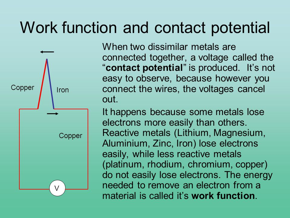 Work function and contact potential When two dissimilar metals are connected together, a voltage called the contact potential is produced.