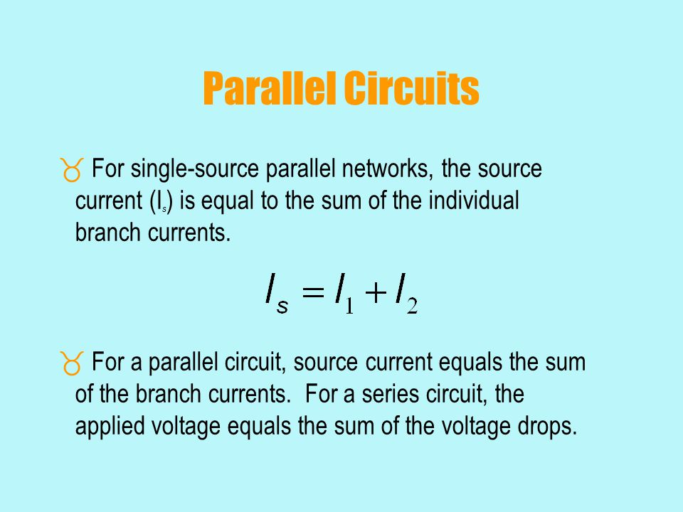 Parallel Circuits  For single-source parallel networks, the source current (I s ) is equal to the sum of the individual branch currents.