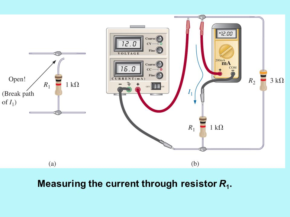 Measuring the current through resistor R 1.