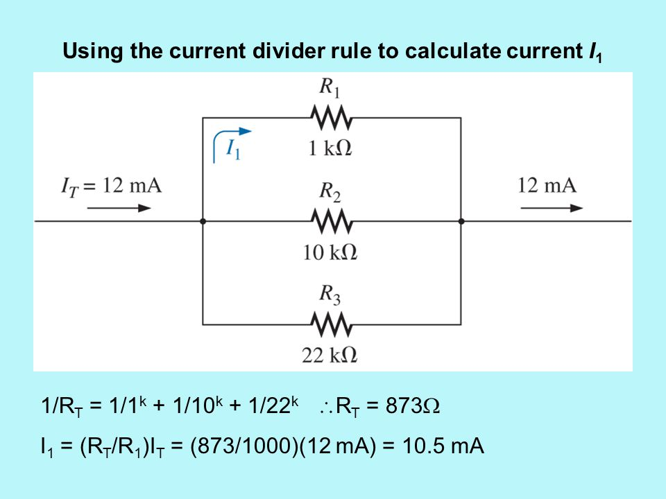 Using the current divider rule to calculate current I 1 1/R T = 1/1 k + 1/10 k + 1/22 k  R T = 873  I 1 = (R T /R 1 )I T = (873/1000)(12 mA) = 10.5 mA