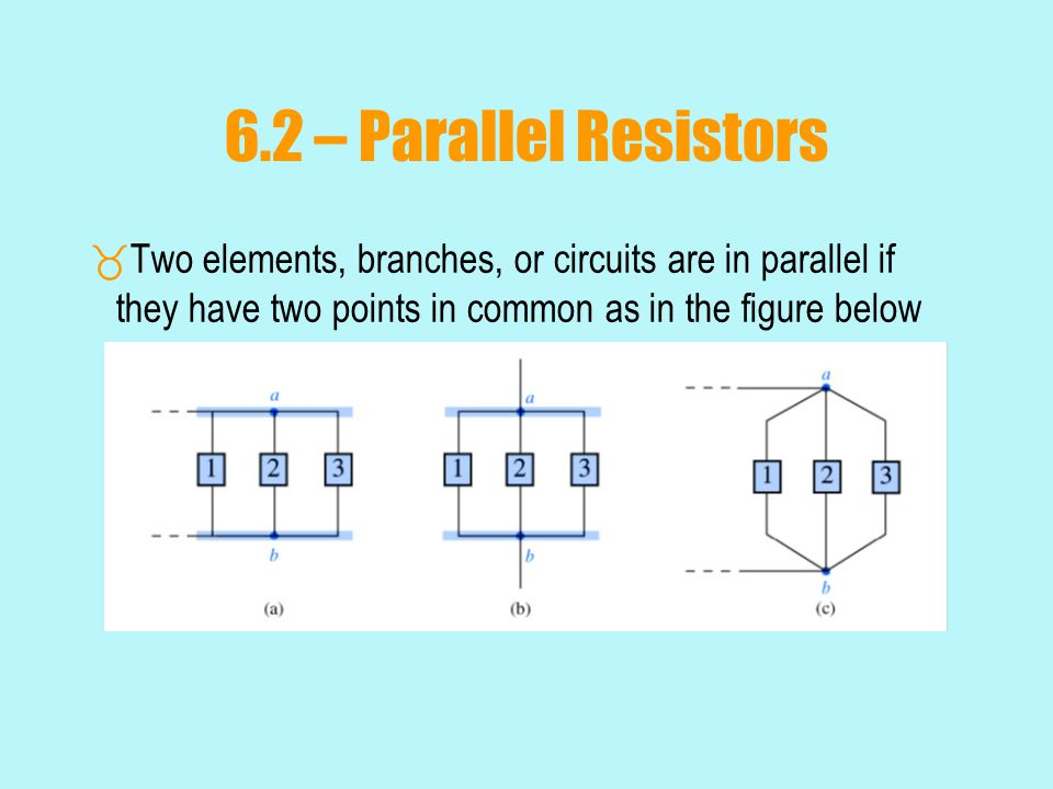 6.2 – Parallel Resistors  Two elements, branches, or circuits are in parallel if they have two points in common as in the figure below Insert Fig 6.2